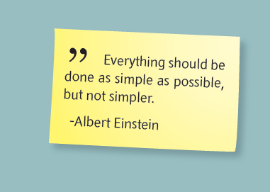 Albert Einstein quote from SRD brochure: Everything should be done as simple as possible, but not simpler